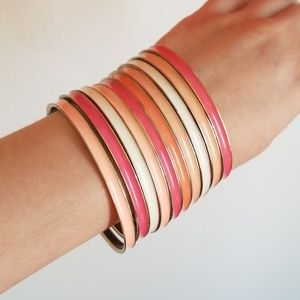Set of 10 metal bracelets pink, peach and white